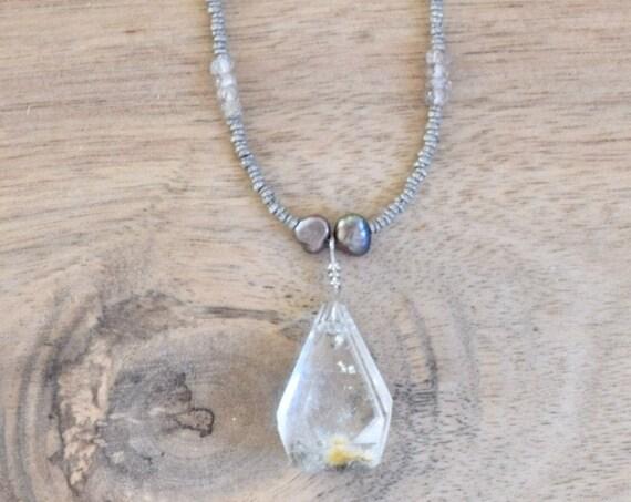 Moss Quartz necklace - New Beginning necklace - crystal necklace - earth tone necklace - clear stone necklace - semi precious necklace