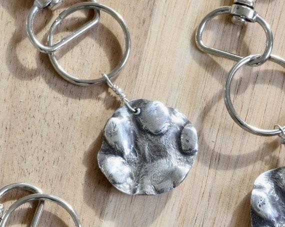 Dog Paw Fine Silver Key Chain - Dog Paw Jewelry from Mold - Actual dog paw accessory - dog paw fine silver - dog print key chain