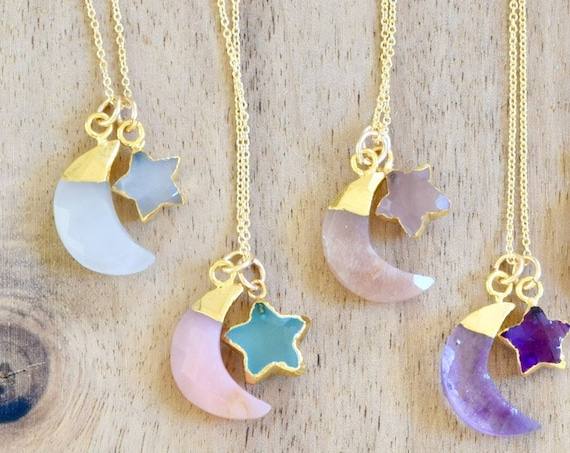 You are My Moon and Star Necklace - moon necklace - star necklace - semi precious stone necklace - celestial necklace - stone necklace