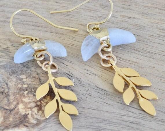 Moonstone Crescent  Drop Leaf Earring - Leaf earring - gold plated earring - moonstone earring - 5 gold leaves - dangle earring