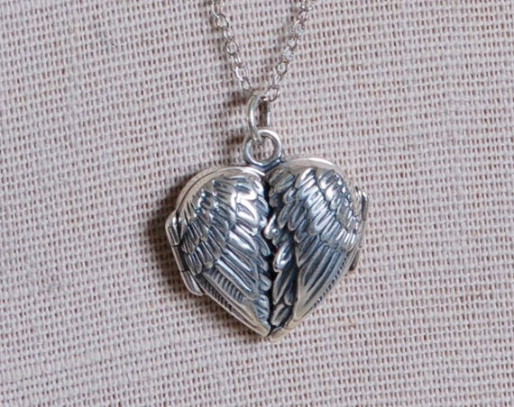 Angel Wing Locket - Valentine's Day Gift - Mother's Day Gift - Heart Locket - Fingerprint Jewelry