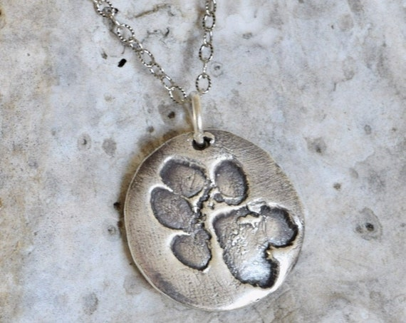 Silver Paw Print Charm Necklace - Pet Print Charm - Dog paw charm - Paw Print Necklace - Small Paw print Necklace - Pet Jewelry - Paw Pad
