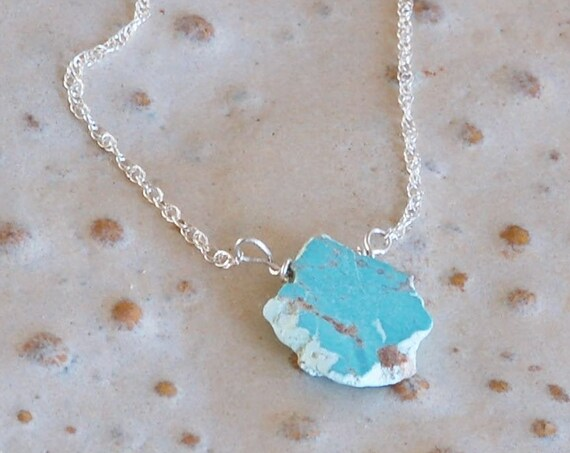 Cloud Necklace - Slice of Turquoise Necklace - Minimalist Necklace