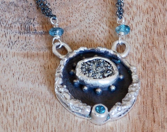 Victory Necklace - Druzy and Blue Topaz