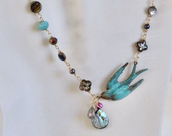 Beach jewelry - summer necklace - Patina Jewelry - Bird Necklace - unique jewelry - one of a kind - best friend necklace - verdigris necklac
