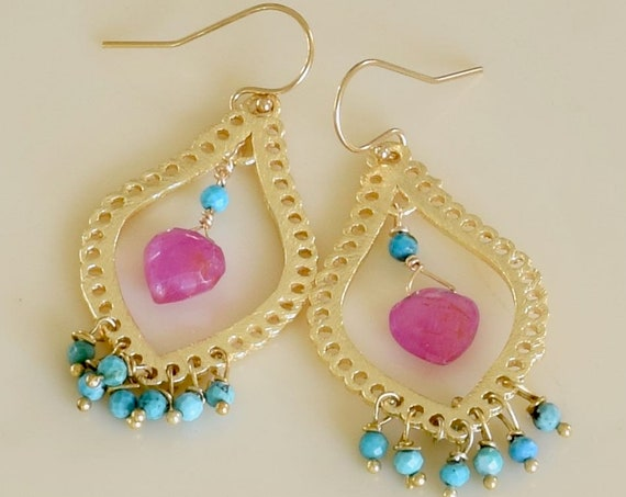 Sapphire  and Turquoise Drop Earring - mom gift- gift for her - dangle earring - drop earring - one of a kind - gold earring