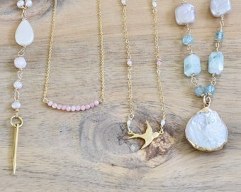 Pink Jewelry Collection - pink layering necklace - Rhodochrosite necklace - sparrow necklace - rose quartz necklace - pink pearl necklace