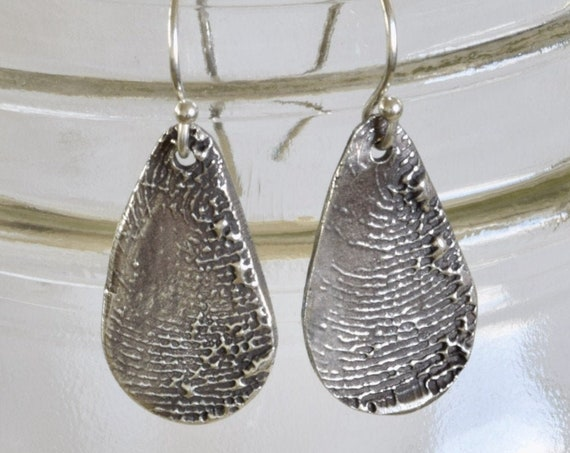 Fingerprint Earring - Fingerprint Tear drop Earring Set - Mother/Daughter Fine Silver - Husband/Wife - kids gift to mom - dad gift to mom
