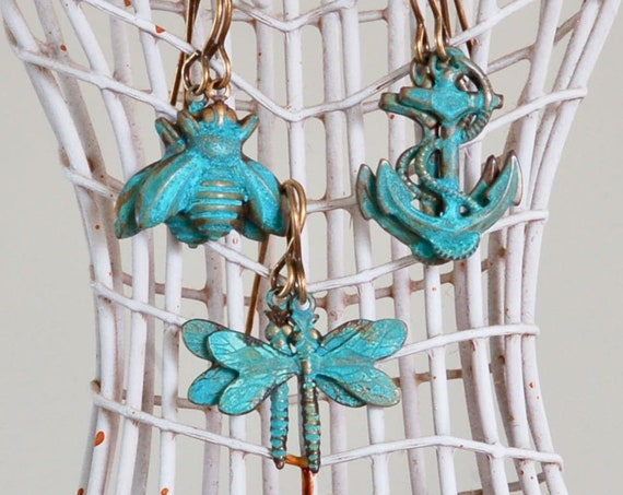 Bee, Dragon or Anchor Patina Earring Collection