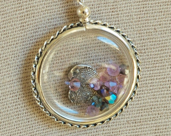 Fingerprint Jewelry - Clear Acrylic Locket - Memory Keeper Necklace