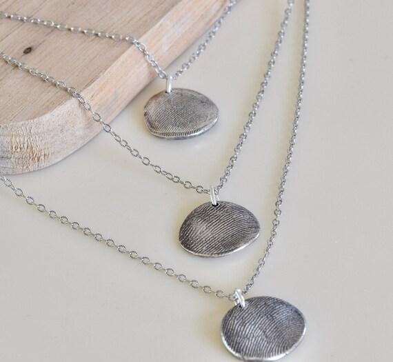 Layered Fingerprint Necklace - fingerprint necklace - fingerprint jewelry - 3 fingerprint necklace - fine silver fingerprint necklace