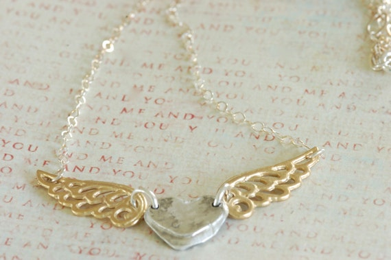 Silver and Gold Angel Wing Necklace