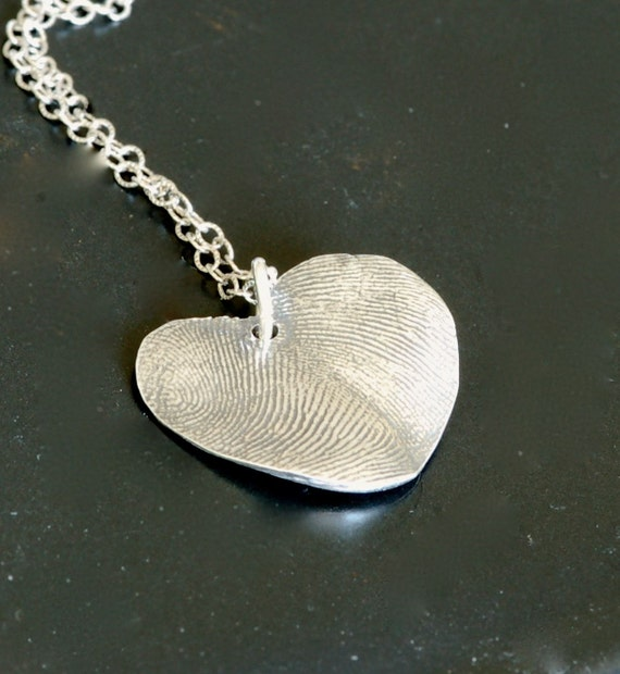 Couples Necklace - Bride and Groom Gift - Gift for Mom - Sister Gift - Fingerprint Jewelry - His & Hers Thumbprint Heart - Army Wie