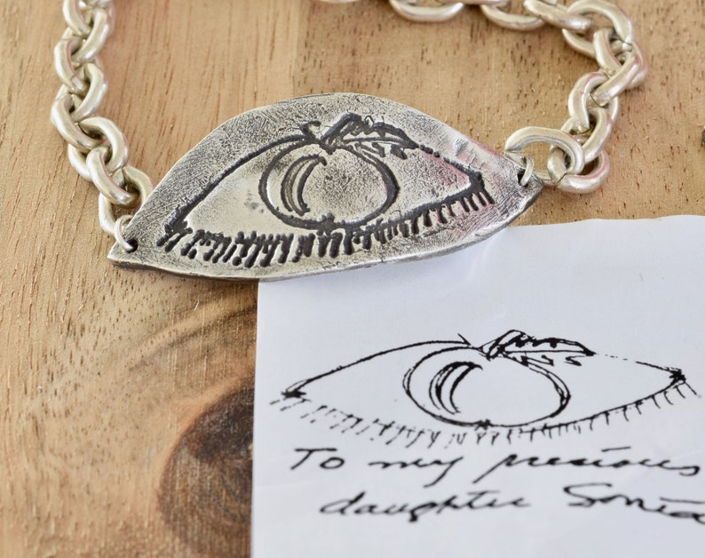 script on jewelry Actual Drawing Custom Bracelet fine silver custom bracelet personalized jewelry Childs drawing on jewelry
