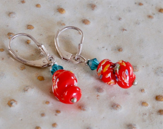 Vintage Red Glass Earring