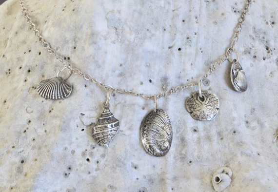 Seashell Necklace - fine silver seashell necklace - beach jewelry - ocean themed jewelry - beach chic - dainty charm necklace - beach charms