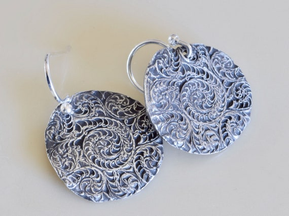 Handmade earrings -  Filigree Earrings - round earring - light weight earring - drop earring - unique gift - dangle earring - one of a kind