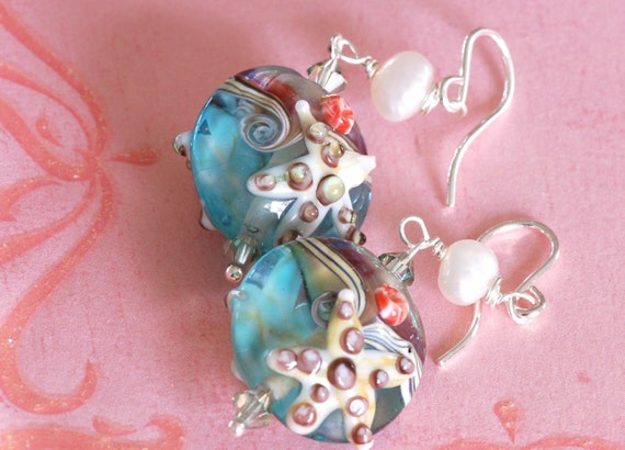 Starfish earring - Glass Earring - blue earring - green earring - pearl earring - handmade earring - Glass starfish earring