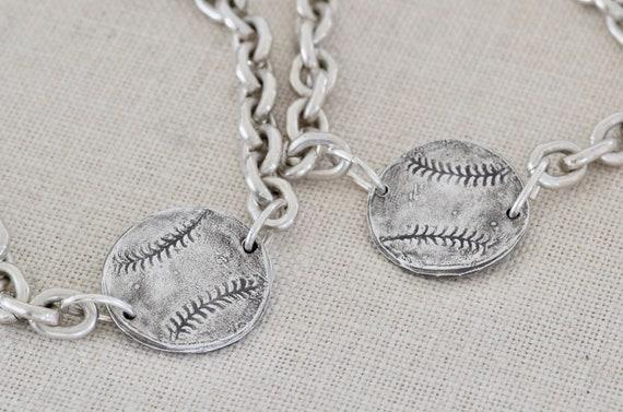 Baseball Bracelet - fingerprint bracelet - Sterling baseball bracelet - macrame bracelet - silver bracelet - team bracelet - sympathy gift