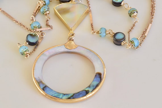 Sea and Sky Abalone Circle Necklace - Abalone Necklace - Pearl Necklace - glass necklace - beach life necklace - tropical necklace