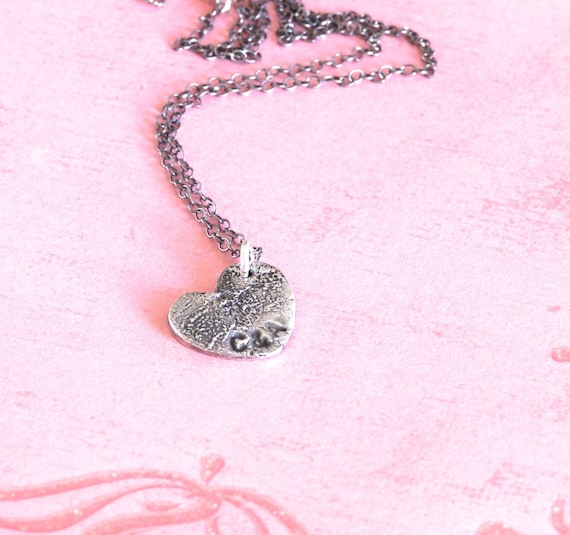 MIni Fingerprint Heart Necklace- Brother & Sister