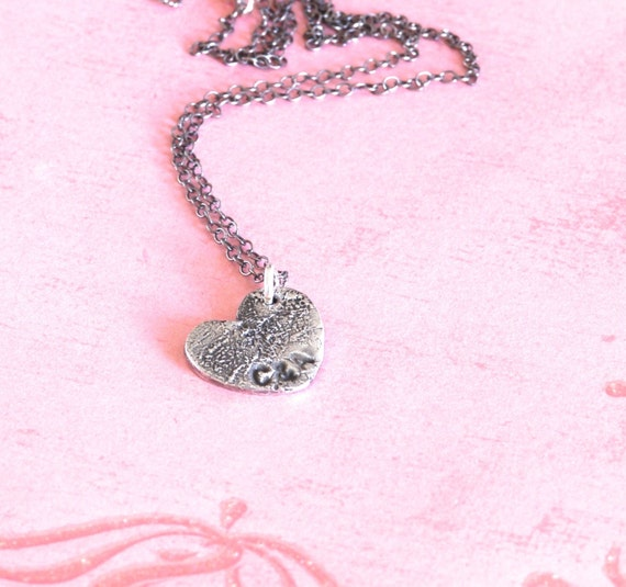 MIni Fingerprint Heart Necklace- Made from JPEG Image - Brother & Sister