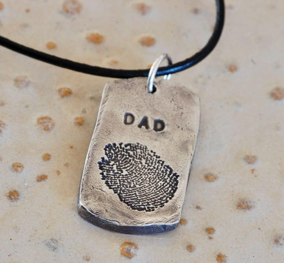 Small Military style dog tag - Dad Necklace - Paw print Necklace - Fingerprint jewelry - 17mm x 31mm - jpg print - Deceased Pet