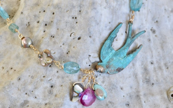 Beautiful Swallow Necklace - unique jewelry - one of a kind - best friend necklace - custom gift for her - Peace Necklace