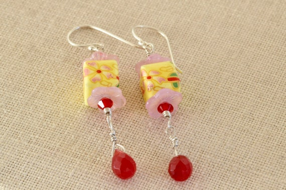 Cheer Me Up Earring - yellow earring - vintage flower block earring - yellow pink and red earring - dangle earring - handmade earring