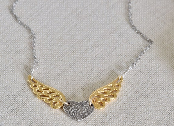 Silver and gold heart - wing heart necklace - silver and gold necklace - fingerprint necklace - handmade necklace - wing necklace