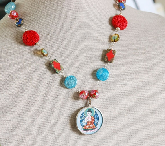 Buddha necklace - spiritual necklace - colorful jewelry - red necklace - blue necklace - statement jewelry - handmade necklace - colorful