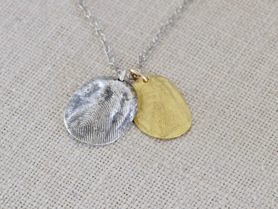 22k Gold & Fine Silver Thumbprint Impression Necklace - brother and sister charm necklace - silver and gold fingerprint necklace