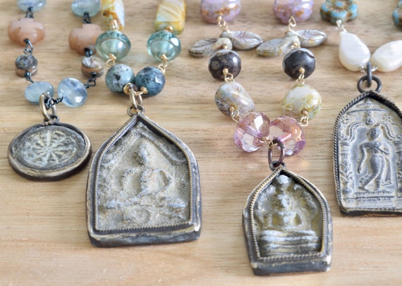 Buddha Necklace - Enlightened One - Rare Necklace - Vintage buddha necklace - glass necklace - spiritual necklace - amulet necklace