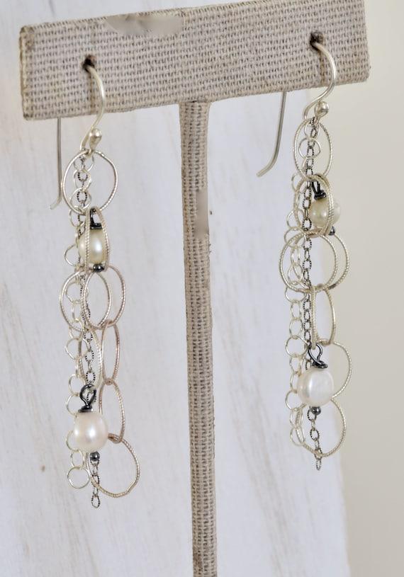 Any Chain Will Do Earrings - chain earring - silver chain earring - chain and pearl earring - long chain earring - dangle earring
