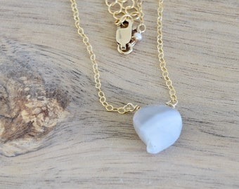 Ghost Quartz Mango Shaped Gold Necklace - white and grey necklace - layering necklace - white stone necklace - dainty necklace