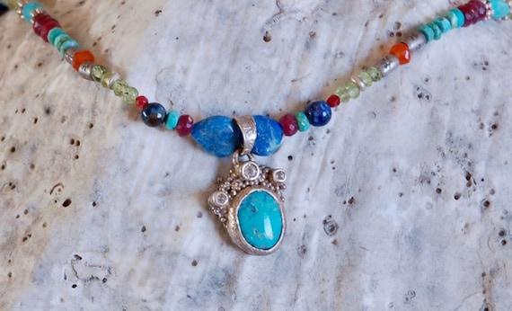Over the Rainbow Necklace - Sleeping Beauty Pendant - Semi Precious Stone Necklace