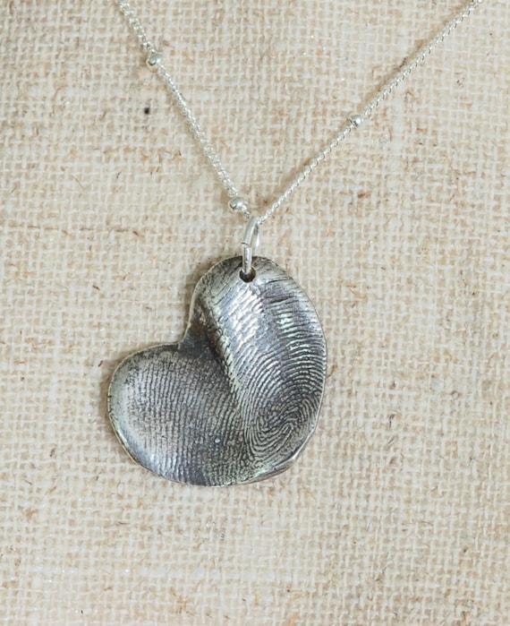Fingerprint Jewelry - mom gift - Meaningful gift - sentimental jewelry - heart necklace - Partner jewelry - best friend necklace - toe print