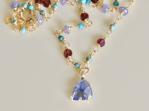 Sapphire Necklace - Turquoise - tanzanite - garnet - mixed stone necklace - semi precious necklace - red and purple necklace - dainty