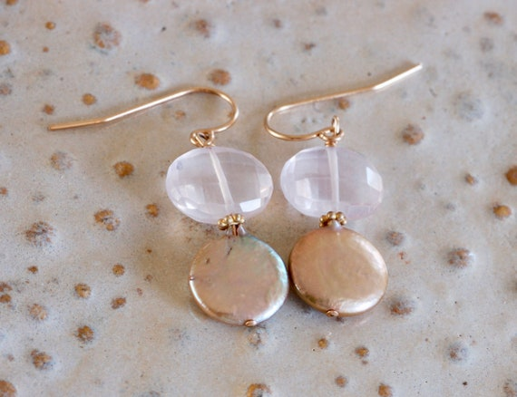 Romantic Rose Quartz and Coin Pearl Earrings