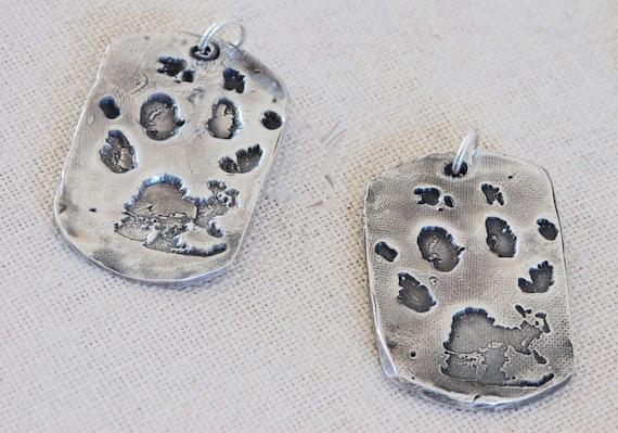 dog paw print jewelry - custom pet gift - personalized paw print  - Paw print Necklace - Fingerprint jewelry - deceased pet - large dog tag