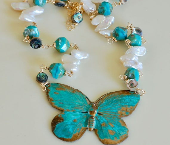 Patina Jewelry - Large Butterfly Necklace - Statement Necklace - Verdigris Jewelry - Vintage Butterfly Necklace - Seaside Butterfly Necklace