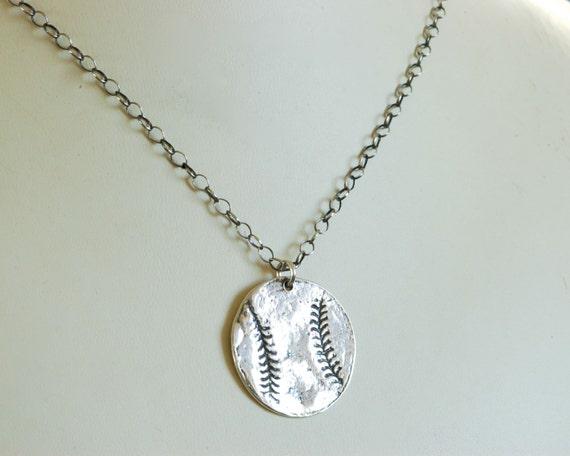 Baseball Necklace - Baseball jewelry - baseball Fingerprint Jewelry - personalized jewelry - custom sports jewelry - fathers day gift