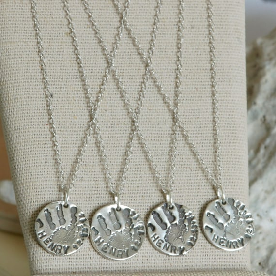 Fingerprint Jewelry - Baby Handprint, Child Handprint Charm Necklace