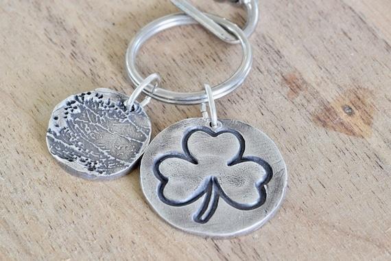 Fingerprint Keychain - Shamrock key chain - silver shamrock fingerprint key chain - Symbol of Ireland - Irish keychain - personalized keycha