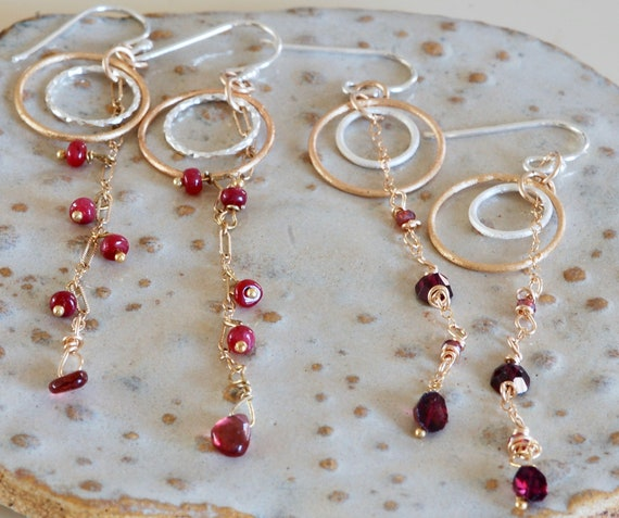 Ruby & Garnet Mixed Metal Earrings