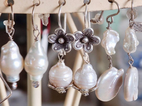 Pretty White Pearl Earring Trio