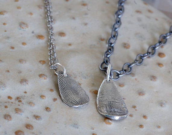 Father's Day Gift - Custom Gift for Her - Mom gift - Grooms gift - fingerprint jewelry - Firefighter wife - Couples Necklace - dad and me