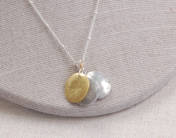 3 Siblings 22k Gold & Fine Silver Thumbprint Impression Necklace