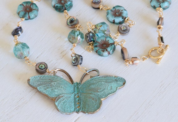 Patina Butterfly Necklace - Butterfly Necklace - statement necklace - handmade necklace - whimsical necklace - colorful jewelry - vintage