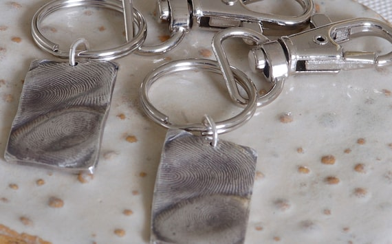 His and Her Keychains - Wedding Gift - Valentines Gift - Love Birds - Anniversary - Parent & Child Fingerprint Jewelry - Couple Jewelry